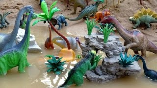 Dino Volcano Swamp! Learn Dinosaur Names for Kids!  Fun Toy Video!