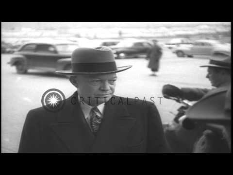 US Army General Dwight Eisenhower arrives to meet US Secretary of Defense James F...HD Stock Footage