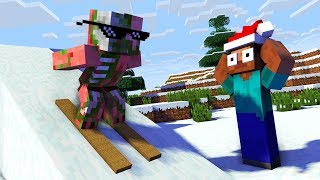 Monster School : SKIING & WINTER GAME CHALLENGE - Minecraft Animation