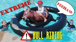 Water Bull Riding Pool Challenge with Inflatabull