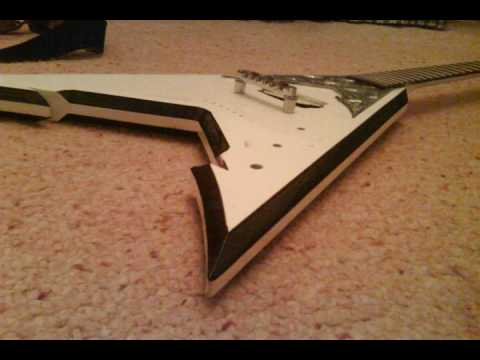 Homemade Guitar Flying V w/ Diamond Plate!!! METAL!!! Video