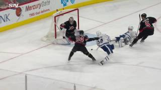 Matthews gets hauled down but won't be denied on backhand