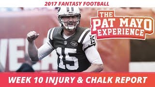 2017 Fantasy Football - Week 10 NFL Injury Report & DraftKings Milly Maker Chalk Picks and Pivots