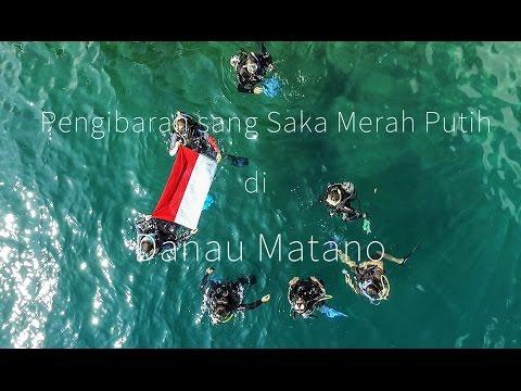 Pengibaran Bendera Merah Putih Bawah Air di Danau Terdalam di Asia Tenggara  Danau Matano