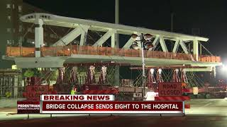 At least one dead in pedestrian bridge collapse at university in Miami, authorities say