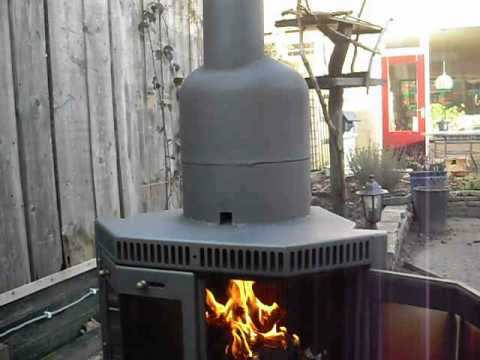 Finished converted wood stove to rocket stove heater