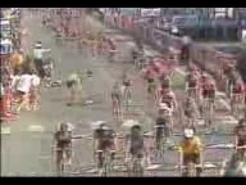 The Tashkent terror Djamolidine Abdujaparov crashing on the final stage of the '91 Tour De France while in the green jersey. Go to 3.47 to get a real idea of how this crash looked.