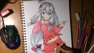 Speed drawing (V? anime) Sagiri Izumi from Eromanga-sensei