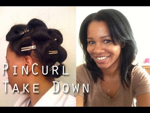 straight natural hair  pin curls take down youtube