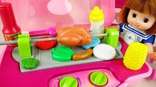 Baby Doll kitchen grilled cooking food toys play