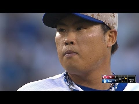 CIN@LAD: Ryu perfect until 8th, fans seven vs. Reds