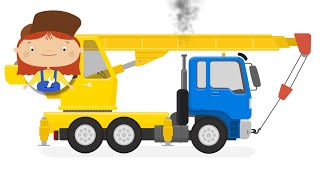 Kids cartoon. Garbage truck became a crane
