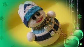 Снеговик из носка своими руками / Мягкая игрушка своими руками / Делаем с детьми