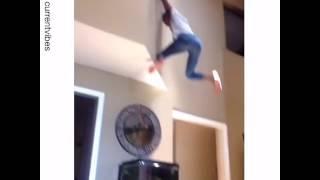 girl falls and breaks fish tank