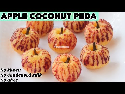 दिवाली के लिए बनाये एप्पल के शेप के कोकोनट पेड़ा बिना मावा या कंडेंस्ड मिल्क के - Apple Coconut Peda