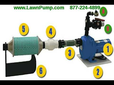 Lawn irrigation pump using lake or pond to water your yard for Pond pump setup