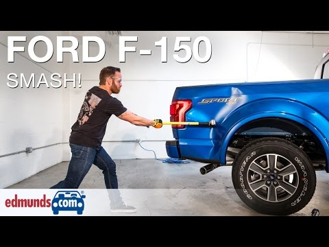 Edmunds.com Editors Hit Aluminum 2015 Ford F-150 With Sledgehammer