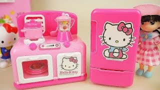 Hello Kitty Refrigerator and kitchen and baby doll toys play