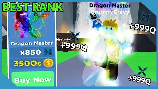 Becoming Max Rank *Dragon Master* in Roblox Ninja Legends