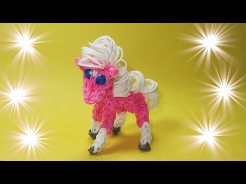 Rainbow Loom HORSE / PONY Design / Tutorial (loom / bands, DIY Mommy Animals, My Little Pony)