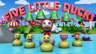 Five Little Ducks | Nursery Rhymes for Kids | HD Version | Sing along Song for childeren