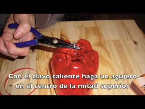 Ideas para reciclar. Manzana de Botella plástica. DIY plastic apple, recycle bottles. EcoDaisy