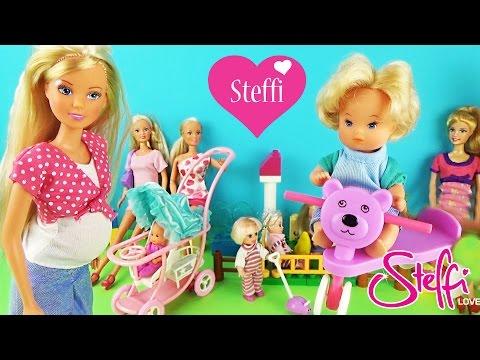 Мультик Беременная Штеффи, малыши, пупсы с папой в доме Приключения с куклами Видео для детей