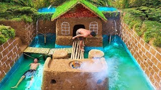 Build Swimming Pool Around The Most Beautiful Underground House With Ancient Skills