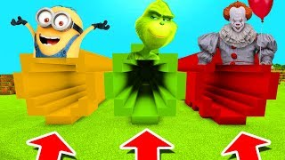 Minecraft PE : DO NOT CHOOSE THE WRONG TUNNEL! (Minion, Grinch & Pennywise)