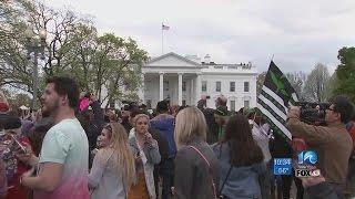 Marijuana advocacy groups protest outside the White House