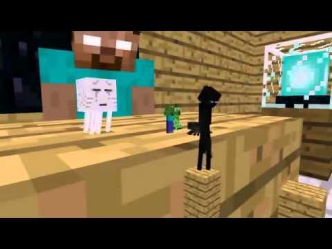 Minecraft parodia escuela de moustros herobrine HD Animación