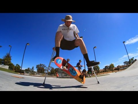 SKATEBOARDING WITH CRUTCHES
