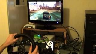 GTA IV with Wheel Logitech G27 First video in youtube Wheel - GTA IV!
