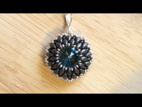Beaded earring tutorial: how to bezel a Rivoli using Superduo beads | Beading Tutorial