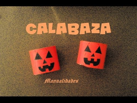 Manualidades calabaza decoraci n de halloween con rollo - Manualidades con rollos de papel ...