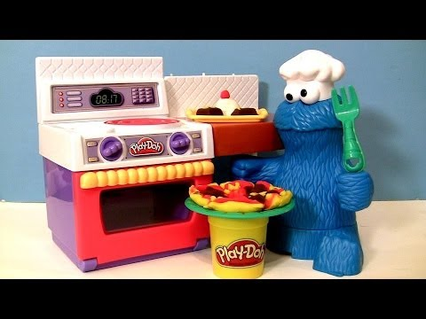 Play-doh Chef Cookie Monster Eats Pizza Meal Making Kitchen Cookie Monster's Letter Lunch Playdough video