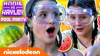 Annie & Hayley EXPLODE WATERMELONS w/ RUBBER BANDS! 🍉 | Pool Party - Ep. 3 | Nick