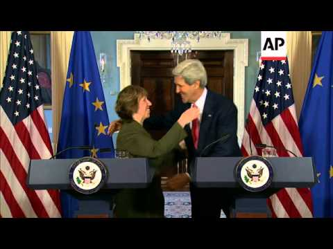 Secretary of State John Kerry and European Union High Commissioner Catherine Ashton meet to discuss