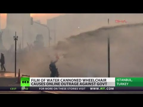 Turkish cops water cannon wheelchair protester, 'civil war may be sparked'?