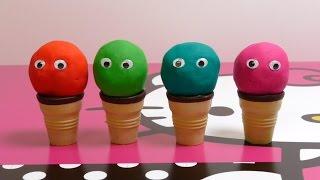 Play-Doh Ice Cream Cupcakes Playset Playdough - Hello Kitty Toys with Eyes