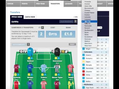Fantasy Football Barclays Premier League 2015/2016 - Pre Gameweek 5 + New Transferes
