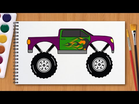 Мультик Раскраска.  Раскрашиваем машинки.  Монстр трак.  Monster Truck