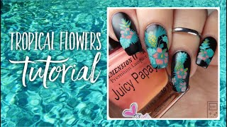 Tropical Flowers Nail Art Tutorial | bwidix