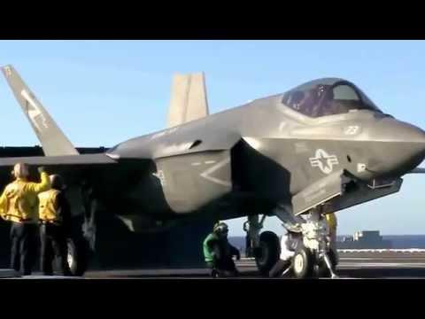 Испытательные взлет и посадка F-35C на авианосце Нимиц (CVN 68)