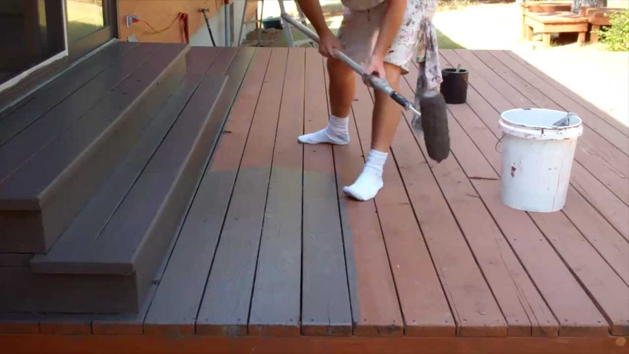 exterior painting step 9 staining the deck youtube. Black Bedroom Furniture Sets. Home Design Ideas