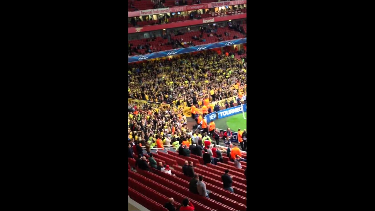 Dortmund Fans at Arsenal Borussia Dortmund Fans Singing