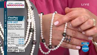"""Imperial Pearls Peacock and White Cultured Pearl 24"""" Sta..."""