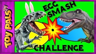 DINOSAUR Easter EGGS SMASH Challenge with Indominus, T-Rex and More Dinosaurs