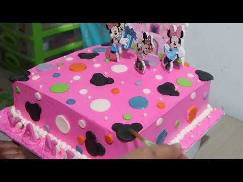 Minnie Mouse Cartoon - How to Make Birthday Cake for Daughter