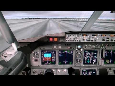 Flight Simulator X 2013 FSX HD - Manual Landing Boeing 737-800 in snowy whether (cockpit view)